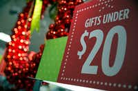 Sale prices hang on a holiday display at a J.C. Penney store in Collin Creek Mall Tuesday, November 1, 2016 in Plano, Texas. The Dallas retailer is unveiling its holiday displays and pricing at stores across the area. (G.J. McCarthy/The Dallas Morning News)Staff Photographer