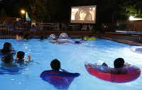 Swimmers gather around the screen at Movie Night at The Texas Pool. The feature was <i>Big Hero 6</i>. (2015 File Photo/Ron Baselice)