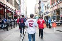 Fans head to Progressive Field before the start of Game 7 of the World Series between the Cleveland Indians and the Chicago Cubs in Cleveland. (Dustin Franz/The New York Times)