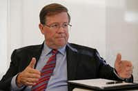 Jim Lentz, CEO of Toyota North America, during an interview at Toyota's temporary headquarters in Plano. (Jae S. Lee/The Dallas Morning News)