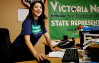 Victoria Neave, the Democratic candidate for Texas House District 107, works phone banks at her campaign office in Garland. (Anja Schlein/Special Contributor)