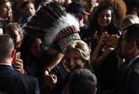 Hillary Clinton greets supporters during a campaign rally in Tempe, Arizona.(AFP/Getty Images)