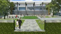 Cawley Partners' new tollway office project includes an outdoor courtyard and other amenities.((Cawley Partners))