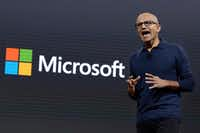 Microsoft CEO Satya Nadella addresses a Microsoft media event in New York, Wednesday, Oct. 26, 2016. (AP Photo/Richard Drew)