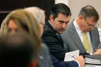 Former North Charleston Police Officer Michael Slager (second from right) sits at the defense table and listens to his lawyer in the courtroom in Charleston, S.C. (Grace Beahm-Pool/Getty Images)