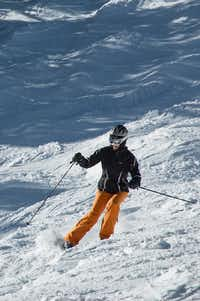 A skier tackles Copper Mountain's moguls.  This season the Colorado resort will open two new spots to eat and drink in Center Village and four electric car charging spaces where there will be no charge for the charge.(Dan Leeth, Special Contributor)