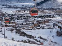The Red Pine Gondola rises above Park City's Canyons Village base.  Guests at the Waldorf Astoria hotel can purchase pocket-stuffable breakfast quesadillas and burritos to devour on the ride up.(Dan Leeth, Special Contributor)