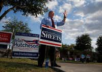 Rep. Kenneth Sheets, the Republican incumbent in Texas House District 107 greets early voters on Oct. 26 outside Lochwood Branch Library in Dallas.  (Nathan Hunsinger/Staff Photographer)
