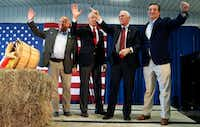 <p>From left: Rep. Steve King, R-Iowa; Sen. Charles Grassley, R-Iowa; Republican vice presidential candidate Mike Pence; and Sen. Ted Cruz, R-Texas, appeared at a campaign rally Thursday in Prole, Iowa. (Charlie Neibergall/The Associated Press)</p><p></p>(AP)