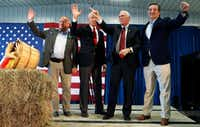 <p>From left:Rep. Steve King, R-Iowa; Sen. Charles Grassley, R-Iowa; Republican vice presidential candidate Mike Pence; and Sen. Ted Cruz, R-Texas, appeared at a campaign rally Thursday in Prole, Iowa. (Charlie Neibergall/The Associated Press)</p><p></p>(AP)