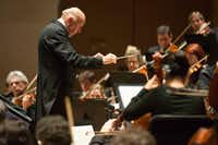 Conductor Pinchas Steinberg and pianist Ingrid Fliter perform with the Dallas Symphony at the Meyerson Symphony Center in Dallas, Texas, Thursday, November 3, 2016. (Allison Slomowitz/ Special Contributor)