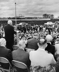 U.S. House Speaker Sam Rayburn at the dedication of the North Texas Municipal Water District's first water treatment plant on Nov. 8, 1956.((North Texas Municipal Water District))