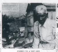 William Hill, 87, patriarch of Little Egypt, paused while cleaning out his shed before the move he and almost 200 other black residents of Little Egypt made on May 15, 1962 to modern homes.  To Hill, it meant a new home with indoor plumbing, plus an extra $22,000 cash.  He lived in Little Egypt for 76 years.  The mass exodus occurred after a real estate syndicate bought the land and homes as a site for a shopping center. (DMN digital files)