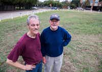Richland College anthropology professor Tim Sullivan (left) and history professor Clive Siegle stand in the area where they led a dig Friday, Nov. 4, 2016, to find the remains of two houses that were demolished in 1962 in a part of the city formerly called Little Egypt. (Ashley Landis/Staff Photographer)