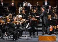 Music director Miguel Harth-Bedoya conducted the Fort Worth Symphony Orchestra on Feb. 6 at Bass Performance Hall in Fort Worth.  (Ashley Landis/The Dallas Morning News)