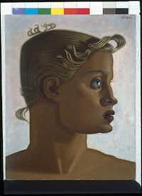 """Maruja Mallo's """"Gold (Two-Dimensional Portrait)"""" c. 1951, oil on canvas glued to board, is part of the """"Modern Spanish Art from the Asociacion Coleccion Arte Contemporaneo"""" exhibit. (Meadows Museum)"""
