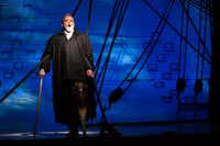 Captain Ahab (Jay Hunter Morris) stands on the ship's deck during a dress rehearsal of  Moby-Dick. (Ben Torres/Special Contributor)
