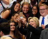 FILE - Democratic presidential candidate Hillary Clinton takes a photo with supporters after speaking at Fort Hayes Vocational School in Columbus, Ohio. (AP Photo/Jay LaPrete, File)(AP)