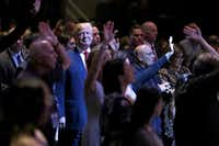 Republican presidential nominee Donald Trump attends a worship service at the International Church of Las Vegas October 30, 2016 in Las Vegas, Nevada. With nine days to go before Election Day, Trump is hoping to inspire the GOP base, including evangelical Christians, to support him.(Chip Somodevilla/Getty Images)