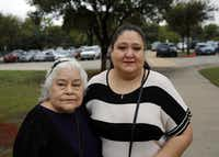 Natalie Tijerina (left) and her granddaughter, Starlet Rodriguez, photographed outside a polling location at Eladio Martinez Learning Center Tuesday, November 8, 2016 in west Dallas. Tijerina, 81, is one of a handful of voters alleging a man signed them up for early voting against their will. When they attempted to vote at their precinct on Tuesday, they were initially denied and told they had mailed in an early voting ballot.(G.J. McCarthy/Staff Photographer)