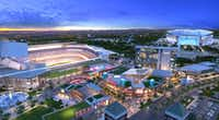 Artist rendering of Texas Live! entertainment complex, which will be next door to the new Texas Ranger stadium. Arlington voters approved public funding for the stadium Tuesday.Courtesy: The Cordish Companies