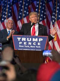President-elect Donald Trump speaks to supporters after winning the election. (J. Conrad Williams Jr./Newsday)