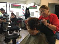 Maria Elena Gonzalez works in the beauty shop she owns in Nogales, Mexico She and other residents worry a Trump presidency will harm U.S.-Mexico relations.((Angela Kocherga/Staff))