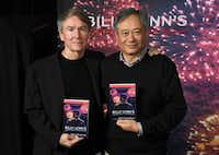 "Author Ben Fountain and director Ang Lee attended the ""Billy Lynn's Long Halftime Walk"" photo call on Oct. 15 in New York. (Angela Weiss/Agence France-Presse)"