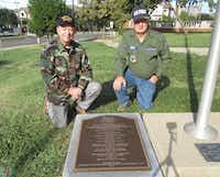 Vietnam veterans and high school friends Danny Linn (left) and David Rippa got a memorial plaque dedicated at North Dallas High School.(Courtesy Danny Linn)