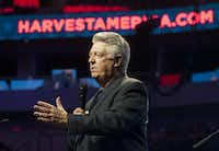 Jack Graham, pastor of Prestonwood Baptist Church, led a prayer during Harvest America at the American Airlines Center in 2014. ((File Photo))