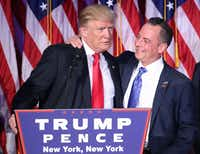 "President-elect Donald Trump and Reince Priebus, chairman of the Republican National Committee, embrace during his election night event at the New York Hilton Midtown in the early morning hours of Nov. 9. (<p><span style=""font-size: 1em; background-color: transparent;"">Mark Wilson/Getty Images</span><br></p><p></p>)"