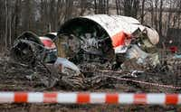 This Sunday April 11, 2010 file photo shows the wreckage of the Polish presidential plane which crashed early Saturday in Smolensk, western Russia. (AP Photo/Sergey Ponomarev, File)(AP)