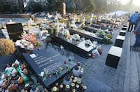 In this picture taken Saturday Nov. 12, 2016 the grave stones of some of the victims of the 2010 plane crash in Russia that killed Poland's President Lech Kaczynski and 95 other prominent Poles, at the Powazki Cemetery, in Warsaw, Poland. (AP Photo/Czarek Sokolowski)(AP)