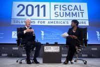 This file photo taken on May 25, 2011 shows former US President Bill Clinton as he speaks alongside Gwen Ifill of PBS' Washington Week during the 2011 Fiscal Summit by the Peter G. Peterson Foundation at the Mellon Auditorium in Washington, DC.(AFP/Getty Images)