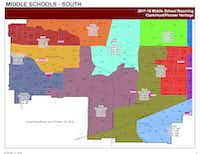 Students in neighborhoods 35, 64 and 65 along the Sam Rayburn Tollway would shift from Hunt Middle School to Clark Middle School. Students in neighborhood 40A along the Dallas North Tollway would shift from Pioneer Heritage Middle School to Hunt Middle School.
