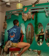 """<p><span style=""""font-size: 1em; background-color: transparent;"""">Actor Corey Murray in artist Heyd Fontenot's """"Kult Klassic"""" exhibit at Conduit Gallery. (Nan Coulter/Special Contributor)</span></p>"""