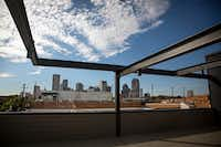 A view of downtown from a bar at the under-construction 2800 Deep Ellum project.  Restaurants and bars in the development are expected to begin opening in early 2017. (G.J. McCarthy/The Dallas Morning News)(Staff Photographer)