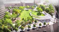 A rendering shows Parks for Downtown Dallas' plan for a new park at Pacific Plaza in downtown Dallas.