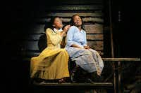 Renee Elise Goldsberry, left, as Nettie and LaChanze as Celie in the musical 'The Color Purple' at the Broadway Theater, Oct. 31, 2005 in New YorkSara Krulwich/NYT