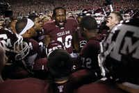 Von Miller led the Texas A&M University Aggies in a pregame rally before facing the Nebraska Cornhuskers in 2010. (File Photo/Tom Fox)