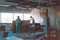 Construction on The Edge studios was going on days before the station hit the air. ((Courtesy George Gimarc))