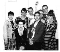 Wendy Naylor (left), with some rather familiar faces (BJORK! Eddie Vedder!) at EdgeFest back when it mattered. ((Courtesy George Gimarc))
