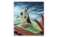Kelsey Irvin, <i>Remember 2016</i>, 56x50, Vintage ephemera, acrylic, oil, & graphite on panel(Craighead Green Gallery)