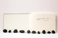 """Marcos Lutyens, """"Trinity River Project: Ten Inductions,"""" 2016, sketchbook, paintings and introduction rocks(Liliana Bloch Gallery)"""