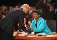 In this Oct. 2, 2008, file photo, PBS journalist and debate moderator Gwen Ifill and then-Democratic vice presidential nominee, Sen. Joe Biden, D-Del., left, shake hands at the end of his vice presidential debate with Republican rival, Alaska Gov. Sarah Palin in St. Louis, Mo. Ifill died on Monday, Nov. 14, 2016, of cancer, PBS said. She was 61.  (AP Photo/Don Emmert, File Pool)(AP)
