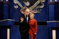 "In a Saturday, Oct. 1, 2016 file photo provided by NBC, Alec Baldwin, left, as Republican presidential candidate, Donald Trump, and Kate McKinnon, as Democratic presidential candidate, Hillary Clinton, perform on the 42nd season of ""Saturday Night Live,"" in New York. (Will Heath/NBC via AP, File)(AP)"