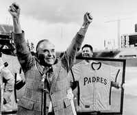 "Ray Kroc, then owner of the San Diego Padres, acknowledges applause before the  season opener in this file photo taken  April 10, 1974    (<p><span style=""font-size: 1em; background-color: transparent;"">(DMN file/AP /San Diego Union Tribune)</span><br></p><p></p>)"