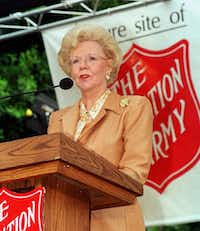 "Joan Kroc speaks of her late husband, Ray Kroc, and his dedication to The Salvation Army at a ceremony on Sept. 23, 1998, in San Diego.  (<p><span style=""font-size: 1em; background-color: transparent;"">(DMN file/AP Photo/Lenny Ignelzi, File)</span><br></p><p></p>)"