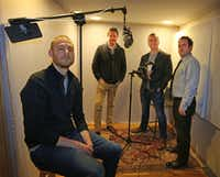 Keith Reynolds, Lindsay Graham, Robert McCollum and Michael Federico, left to right, are the creative team behind the new fictional audio series <i>Terms</i>, photographed in Dallas on Wednesday, November 16, 2016. (Louis DeLuca/The Dallas Morning News)Staff Photographer
