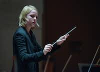 Ruth Reinhardt  conducts the Dallas Symphony Orchestra at the Morton H. Meyerson Symphony Center on Thursday, Nov. 17, 2016.(Rex C. Curry/Special Contributor)(Special Contributor)